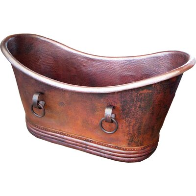Isabella Copper 71 x 37 Large Slipper Tub with Rings Finish: Dark Smoke Copper, Drain Location: Right