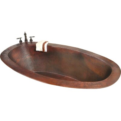 Roberta Copper 67 x 31 Small Self-Rimming or Undermount Bathtub Finish: Dark Smoke Copper, Drain Location: Left, Overflow Location: Center