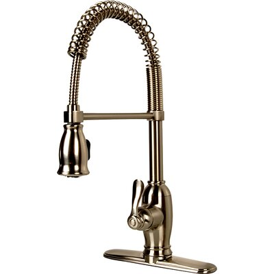 Pull Down Single Handle Kitchen Faucet Finish: Satin Nickel