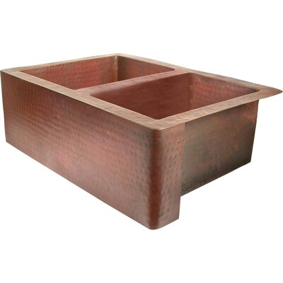 Copper 36 x 22 50/50 Well Farmhouse Kitchen Sink Finish: Dark Smoke Copper