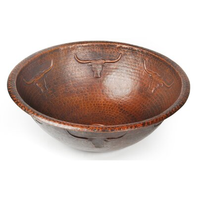 Longhorn Cicular Undermount Bathroom Sink Finish: Shiny Copper, Edge: Rolled