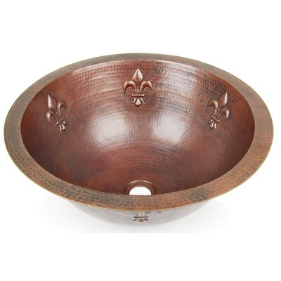 Fleur De Lis Circular Undermount Bathroom Sink Finish: Dark Smoke Copper, Edge: Flat