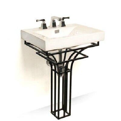 Iron Virtus 24 Single Pedestal Bathroom Vanity Set Base Finish: Black Iron