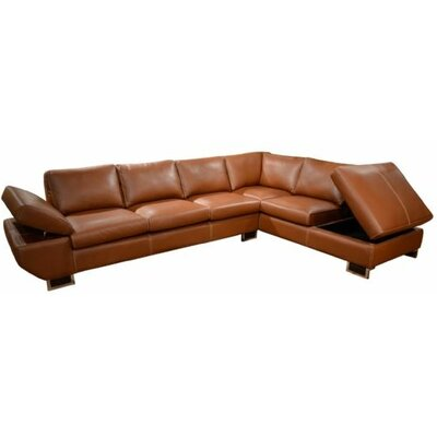 Messina Leather Sectional Body Fabric: Brown