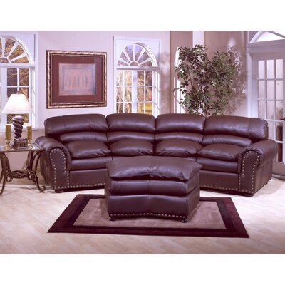 Williamsburg 4 Seat Conversation Leather Sofa Room Set