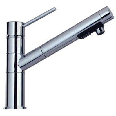 Lever Handle Deck Mounted Kitchen Faucet with Pull-Out 2-Mode Spray Finish: Polished Chrome
