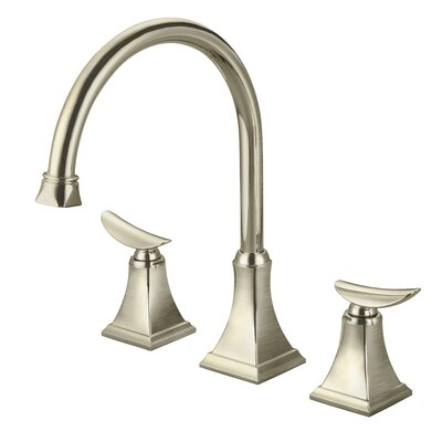 Double Handle Kitchen Faucet with Pop-up Drain Finish: Brushed Nickel