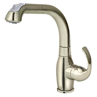 Lever Pull Down Single Handle Kitchen Faucet Finish: Brushed Nickel