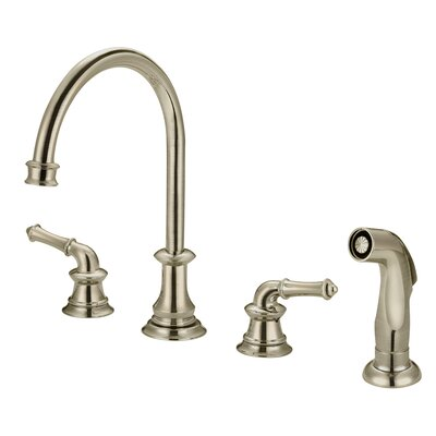 Double Handle Widespread Deck Mounted Kitchen Faucet Finish: Brushed Nickel, Side Spray: With Spray