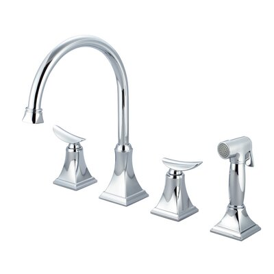 Double Handle Kitchen Faucet with Side Spray Finish: Polished Chrome