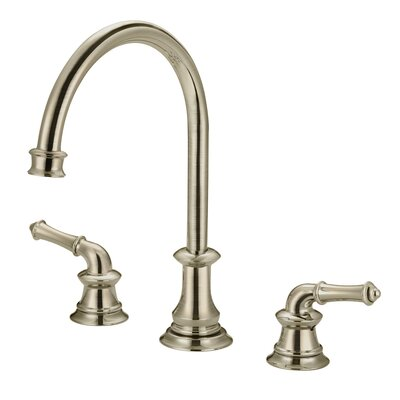 Double Handle Kitchen Faucet with Optional Side Spray Finish: Brushed Nickel, Side Spray: Without Spray