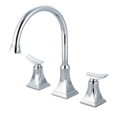 Double Handle Widespread Deck Mounted Kitchen Faucet with Pop-up Drain Finish: Polished Chrome