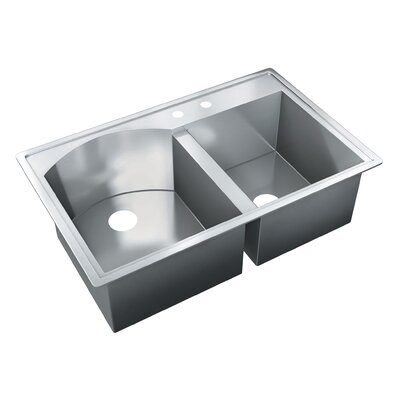 35 x 22 Self Rimming Double Bowl Kitchen Sink
