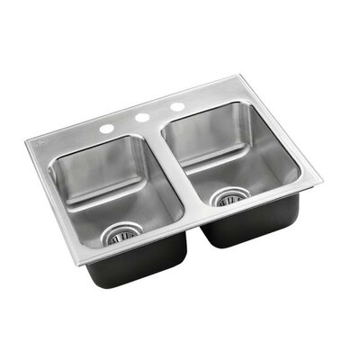 25 x 20 Double Bowl Drop-In Kitchen Sink