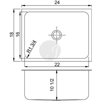 24 L x 18 W Undermount Kitchen Sink