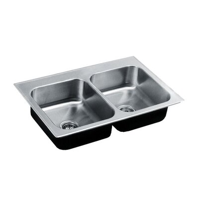 33 L x 22 W Double Basin Drop-In Kitchen Sink