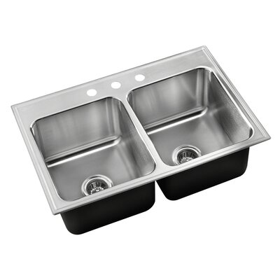 33 L x 21 W Double Basin Drop-In Kitchen Sink