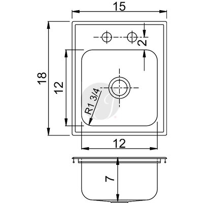 15 L x 18 W Drop-In Kitchen Sink Faucet Drillings: 1 Hole