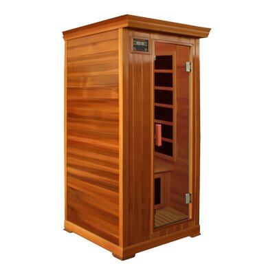 Crystal Sauna 1-Person Cedar Infrared Sauna with Six Carbon Heaters and ...