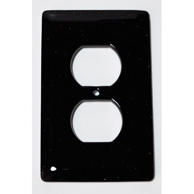 Solid 1 Gang Receptical Wall Plate Color: Black