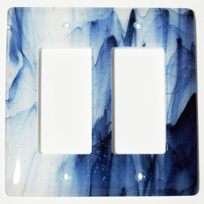 Swirl 2 Gang Decora Wall Plate Color: Metallic Blue and Clear