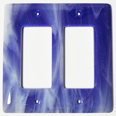Swirl 2 Gang Decora Wall Plate Color: White and Cobalt