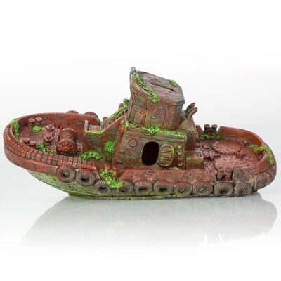 Decorative Sunken Model Tugboat Aquarium Sculpture