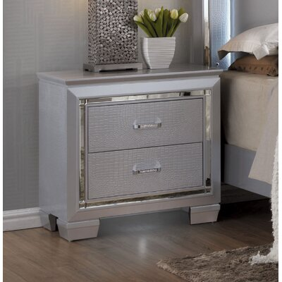 Ibrahim 2 Drawer Nightstand Color: Silver