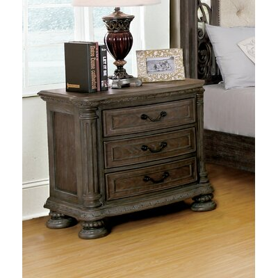 Solena Traditional 3 Drawer Nightstand