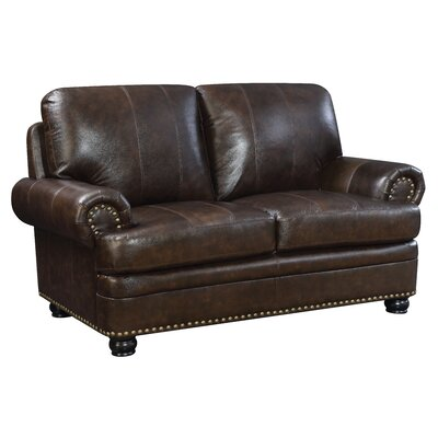 Jagen Transitional Leather Loveseat
