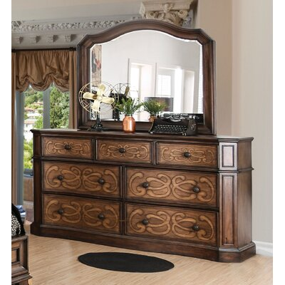 Barrington Transitional 7 Drawer Dresser with Mirror