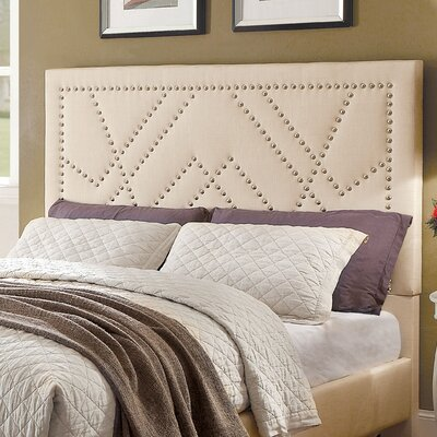 Ava Contemporary Upholstered Panel Headboard Upholstery: Beige, Size: Queen