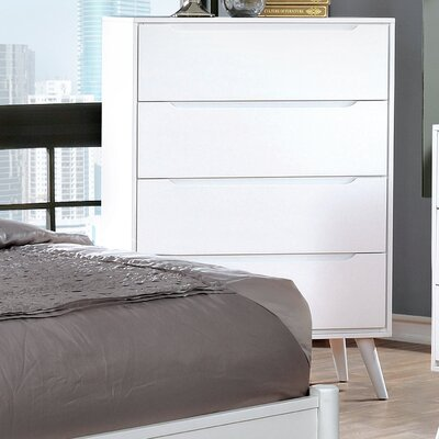 Polick Mid-Century Modern 4 Drawer Chest Color: White