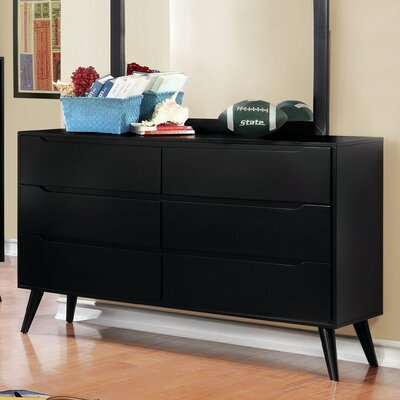 Polick Mid-Century Modern 6 Drawer Double Dresser Color: Black