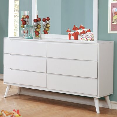Polick Mid-Century Modern 6 Drawer Double Dresser Color: White
