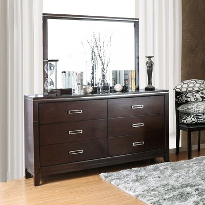 Lonny Contemporary 6 Drawer Dresser with Mirror