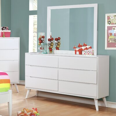 Polick Mid-Century Modern 6 Drawer Double Dresser with Mirror