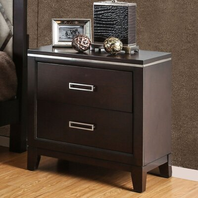 Lonny Contemporary 2 Drawer Nightstand