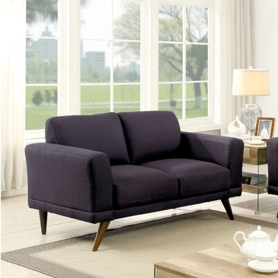 Johnathan Mid-Century Modern Loveseat Upholstery: Black
