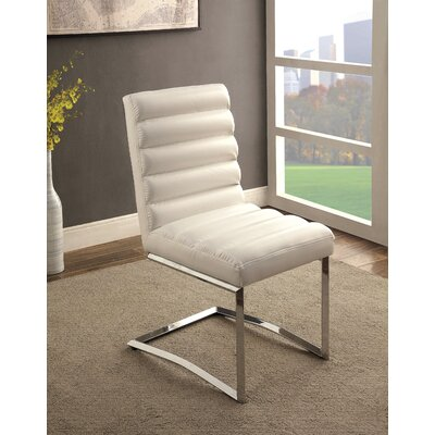 Destan Contemporary Side Chair Upholstery: White