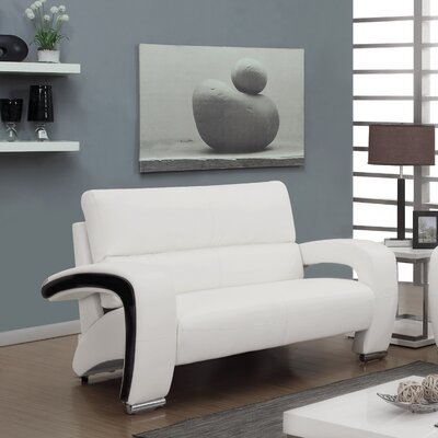 Obrian Contemporary Loveseat Upholstery: White
