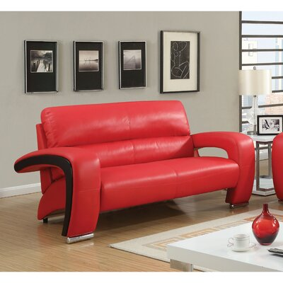 Obrian Contemporary Loveseat Upholstery: Red