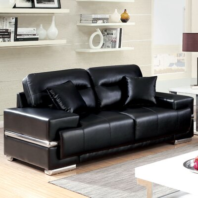 Obryant Contemporary Loveseat Upholstery: Black