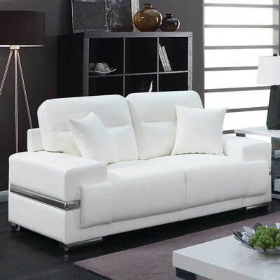 Tabitha Contemporary Loveseat Upholstery: White