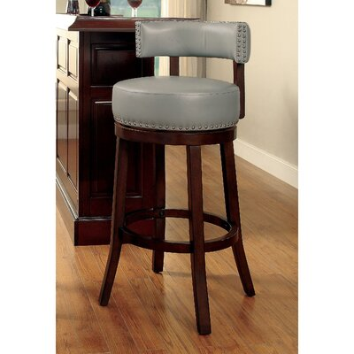 Tonia Contemporary 25 Swivel Bar Stool Upholstery: Gray