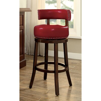 Tonia Contemporary 25 Swivel Bar Stool Upholstery: Red