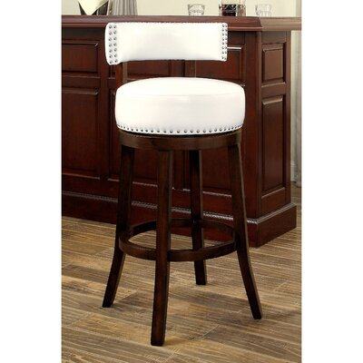 Tonia Contemporary 25 Swivel Bar Stool Upholstery: White