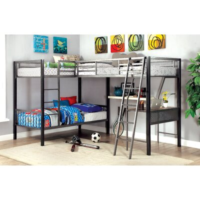 Sheri Contemporary Twin Triple Bed with Storage and Display Shelf