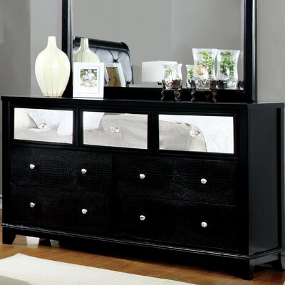 Ariadne Contemporary 7 Drawer Dresser Color: Black