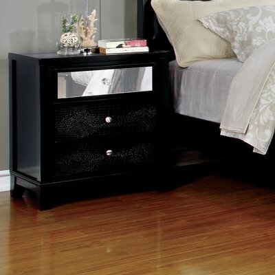Ariadne Contemporary 2 Drawer Nightstand Finish: Black